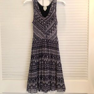 Anthropologie Boho Pattern Fit and Flare Dress XS